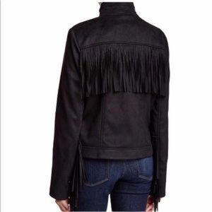 Rachel Roy Plum Fringe suede jacket